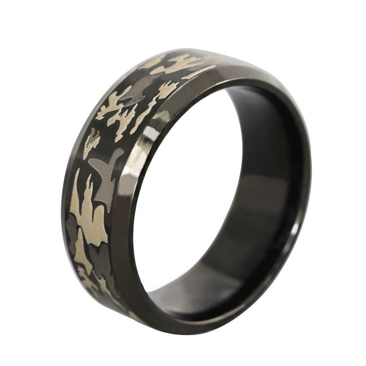 Wide National Wind Style Black Gold Filled Fashion Laser Camouflage Image Custom Ring Titanium Steel Men's Rings(China (Mainland))