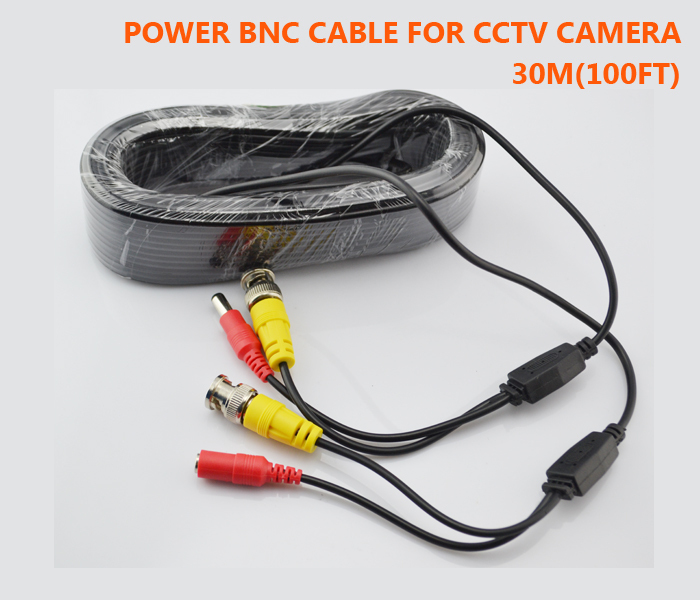CCTV Cable 30M 100ft for Security Camera BNC connector + DC plug Video Power wires CCTV Accessories(China (Mainland))