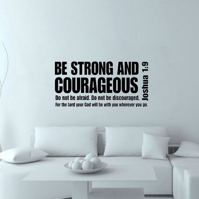 Be Strong And Courageous Inspiring Wall Decal Text Quote Vinyl Art Removable Home Decor Wall Sticker 103x43cm