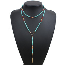 Buy LUFANG Fashion Boho Statement beads long Chain Maxi Necklace 2017 brand Blue Ethnic Crystal collar choker Necklace Women Jewelry for $1.76 in AliExpress store
