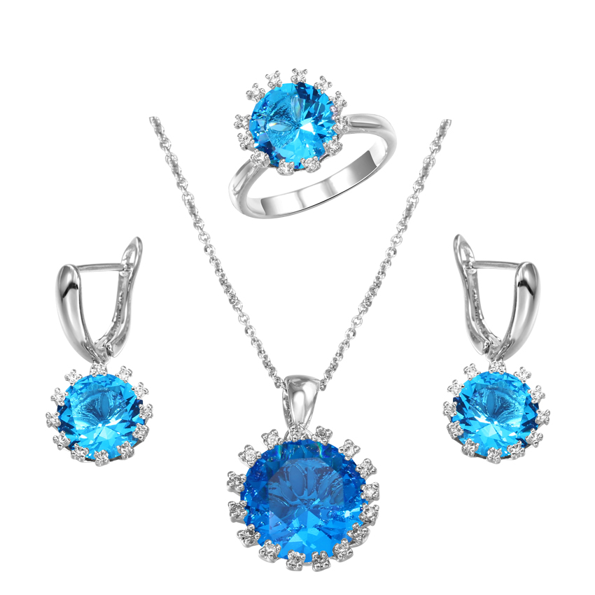 Aqua Blue Simulated Gemstone Pendant / Ring / Earrings Set Zircon CZ Diamonds Halo Women Jewelry Sets Romantic Gifts For Lover(China (Mainland))