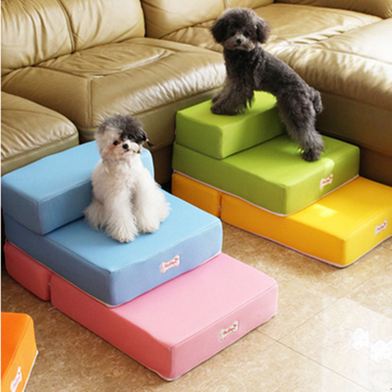 Free shipping 12 colours Colorful Pet Furniture Pet Dog Stairs Puppy Anti-slip Pet Stairs Folded Stairs 2-step Dog Stairs 1PCS(China (Mainland))