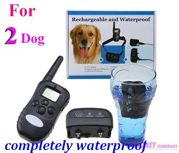 10set/lot * 300M Completely Waterproof and Rechargeable LCD 100LV Level Shock Vibrate Remote Dog Training Collar (for 2 dogs)(China (Mainland))