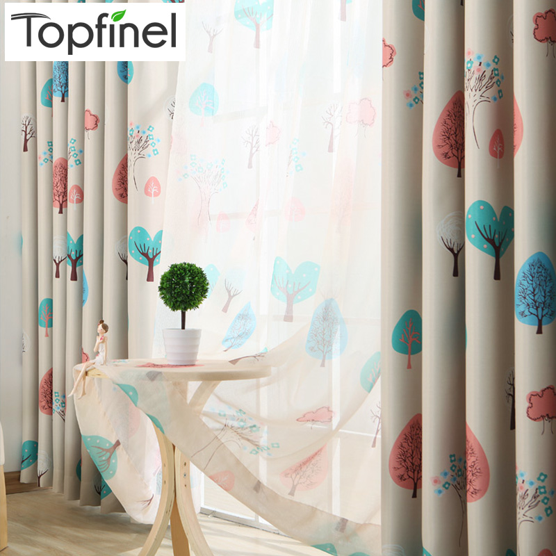 Cartoon Trees Curtains For Kids Boys Bedroom Blinds Linen