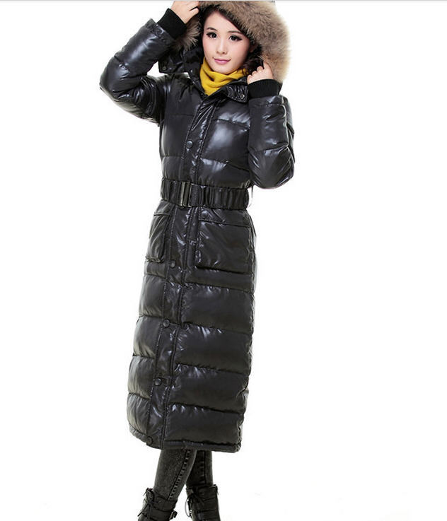 Plus size S-XXXXL 2013 new thick down jacket women's floor-length winter warm fur collar pleated down jacket free shipping H1803