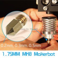 Free shipping 5pcs/lot 3D Printer Copper Nozzle Mixed Sizes 0.2mm/0.3mm/0.4mm Extruder Print Head For 1.75MM MK8 Makerbot Hot