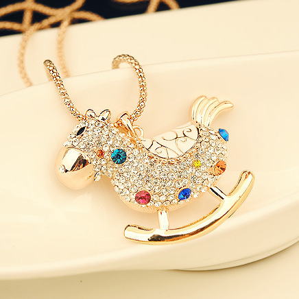 2014 New Fashion Luxrious Gold Korean Colorful Rhinestone Trojan Horse Pendant Necklace N2232(China (Mainland))