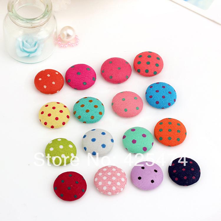Free shipping mix colors DIY hairband headwear phone decoration.200pcs/lot 15MM flatback polka dots fabric jewelry buttons.(China (Mainland))