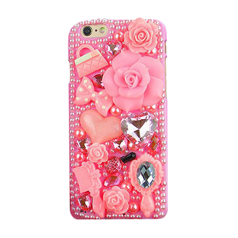 Fashion manual flare pink flower rose pearl diamond crystal comb mirror bow handbag perfume cell phone case Iphone66s4.7inch - Roselove1989 store