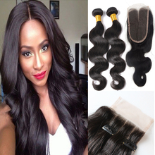 Grade 8A Hot Sale Peruvian Virgin Hair Body Wave With Closure Silk Lace Closure With Bundles Human Hair Weave With Closure