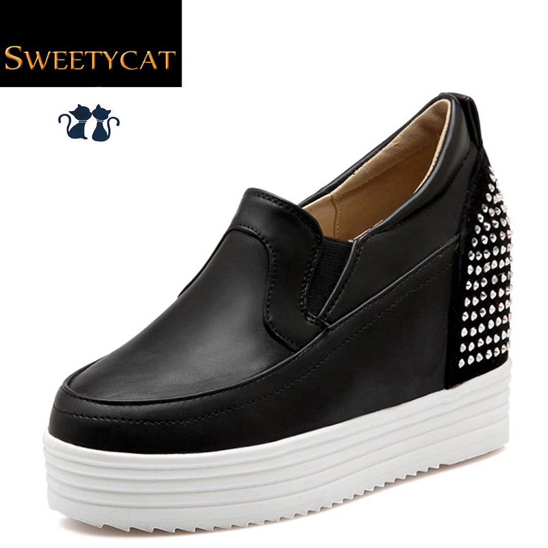 New 2016 Autumn/Spring Fashion Height Increasing Rivets Casual Shoes woman Platform Wedges heels Leather shoes size 34-43 L45(China (Mainland))