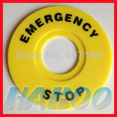 22mm e-stop emergency stop push button switch panel label frame plastic sign, inner diameter 22mm,external diameter 60mm<br><br>Aliexpress