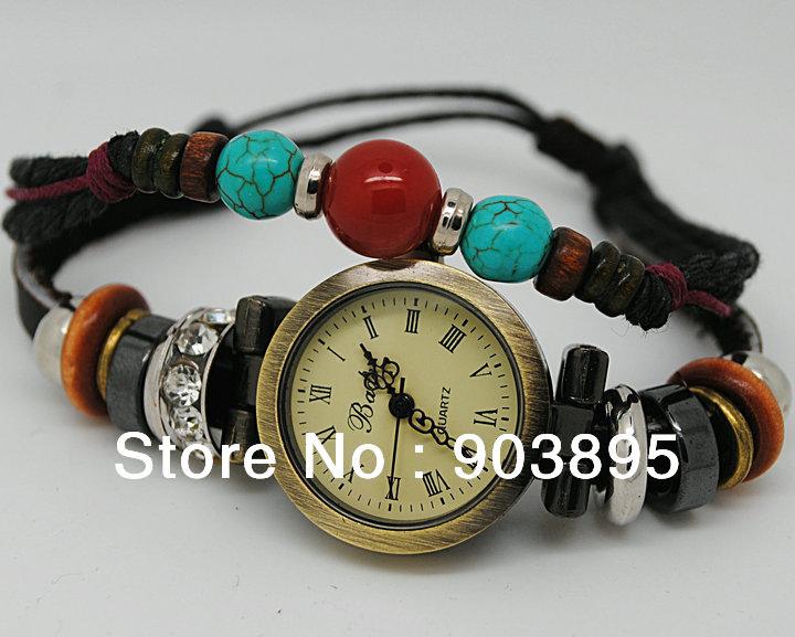 2013hot!!! ladies vintage turquoise wooden beads diamond bracelet watch Rome women Genuine cow leather quartz wristwatches(China (Mainland))