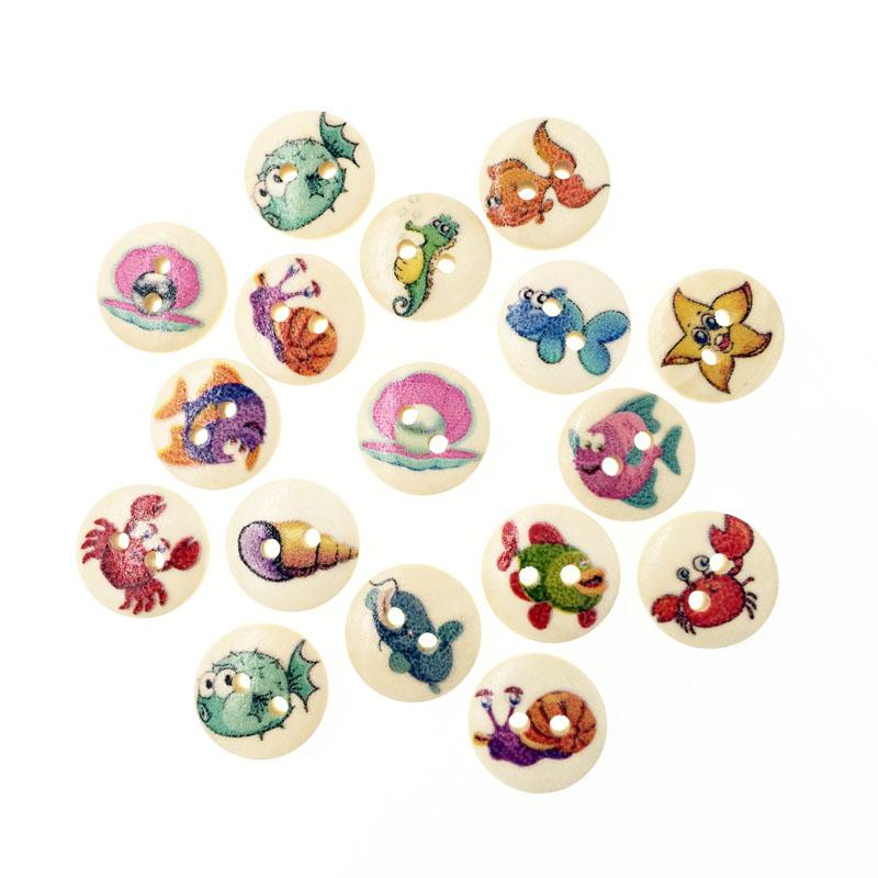 100Pcs Fashion Fancy Bulk Mixed Wooden Button Cartoon Sewing Accessories Decorative Buttons Handmade Scrapbooking Craft DIY 15mm(China (Mainland))