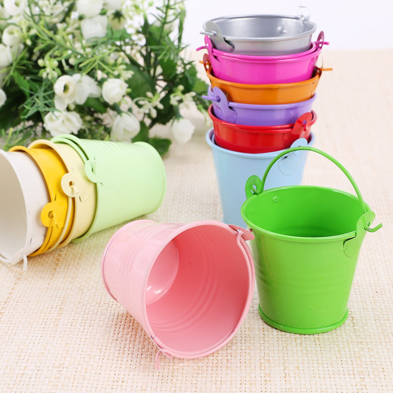 12pcs Colorful Mini Metal Bucket Candy Favours Box Pail Wedding Party Gifts For for Flowers Gift Party Supplies(China (Mainland))