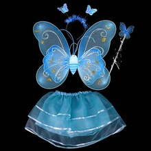 Butterfly Wing Wand Headband Tutu Skirts Cosplay Costume For Fairy Girl Kid(China (Mainland))