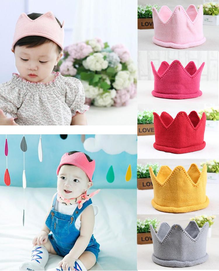 2016 Newborn Baby Bebe Girl Boys Knitting Crochet Costume Soft Adorable Handmade Crown Hair Accessories Hat Cap Birthday Gift(China (Mainland))