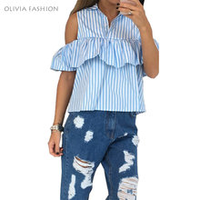 2016 new fashion sexy off shoulder blouse ruffle striped plaid shirt female women summer tops blusas