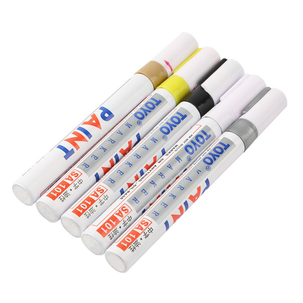 New Universal White Car Motorcycle Whatproof Permanent Tyre Tire Tread Rubber Paint Marker Pen 5 colors hot selling(China (Mainland))