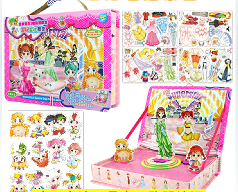 Dressy Girls on Superstar Stage Magnetic Game dress up dolls promote the brain development sticker,learning box educational toy(China (Mainland))
