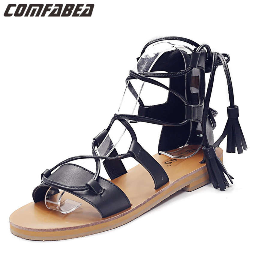 Rome Flat Heel Fashion Women's Sandals 2016 Summer gladiator sandals women flat Summer Shoes Mid-calf Black White Brown shoes(China (Mainland))