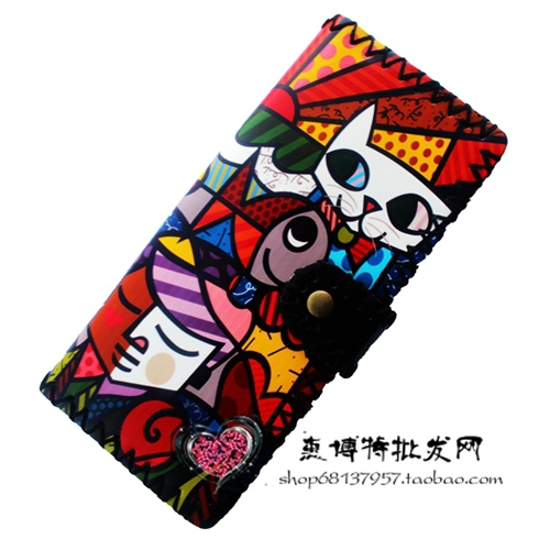 Printing Cartoon cat wallets women clutch wallet, fashion female purse PU leather lady purse Antique National wind change purse(China (Mainland))