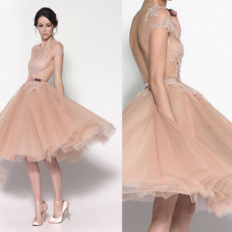 New Fashion Romantic Cheap Short Tulle Champagne Cocktail Dresses With Open Back Knee Length Party Dress For Prom Night(China (Mainland))