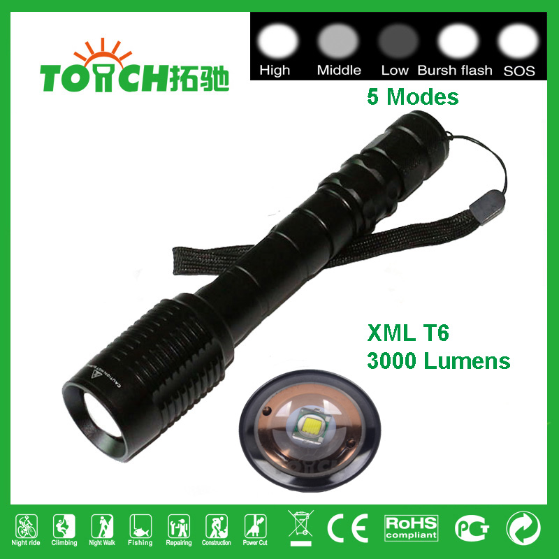 Super Bright CREE XM-L T6 led LED Flashlight 5 Modes 3000 Lumens Zoomable LED Torch Support 2X18650 battery Tactical Attack 8068(China (Mainland))