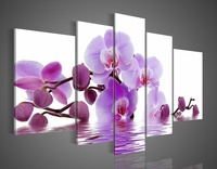 hand-painted oil wall art Purple flowers water side home decoration abstract Landscape oil painting on canvas  DY-023