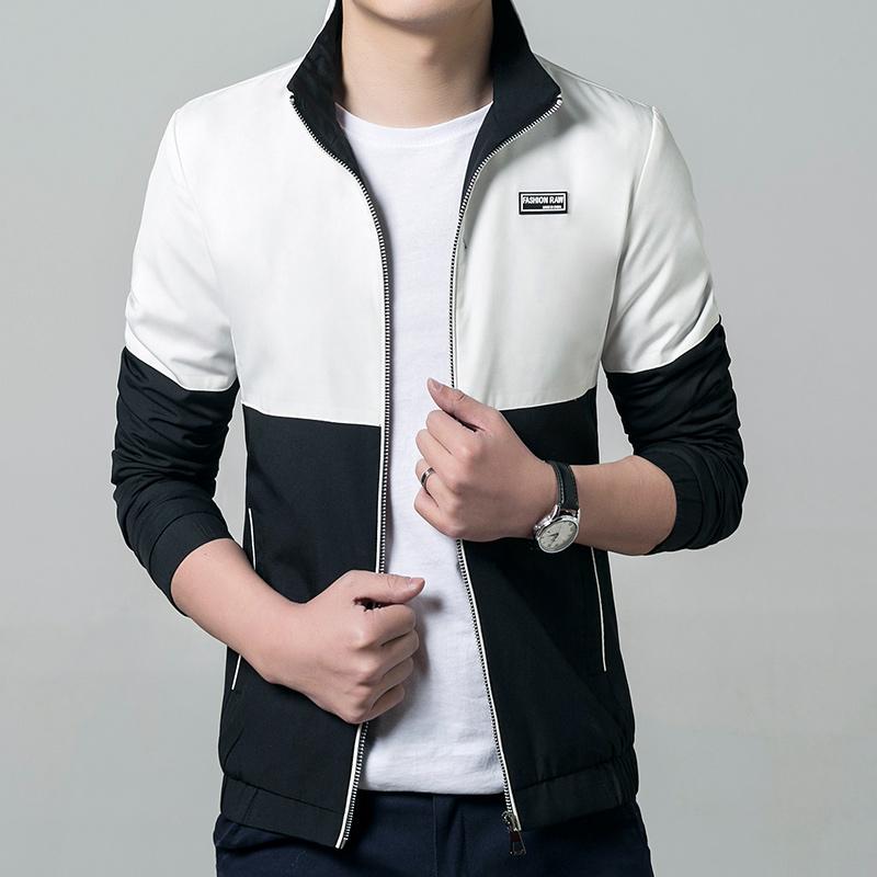 Jaqueta Masculina 2016 New Fashion Patchwork Jacket Men Casual Slim Fit Mandarin Collar Jacket 4 Colors M-5XL Overcoat Outwear