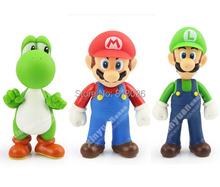 3pcs/set Super Mario Bros Mario Yoshi Luigi figures PVC Collection figures toys for christmas gift brinquedos(China (Mainland))