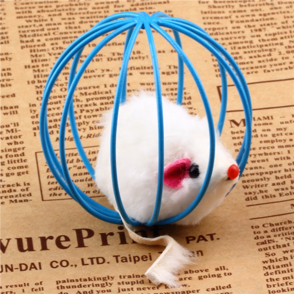 1pc Fun Toys False Mouse in Rat Cage Ball For Pet Cat Kitten Play Playing Newest(China (Mainland))