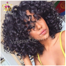 Free Shipping kinky afro curly with bangs black ombre bob hair heat resistant glueless synthetic lace front wigs for balck women