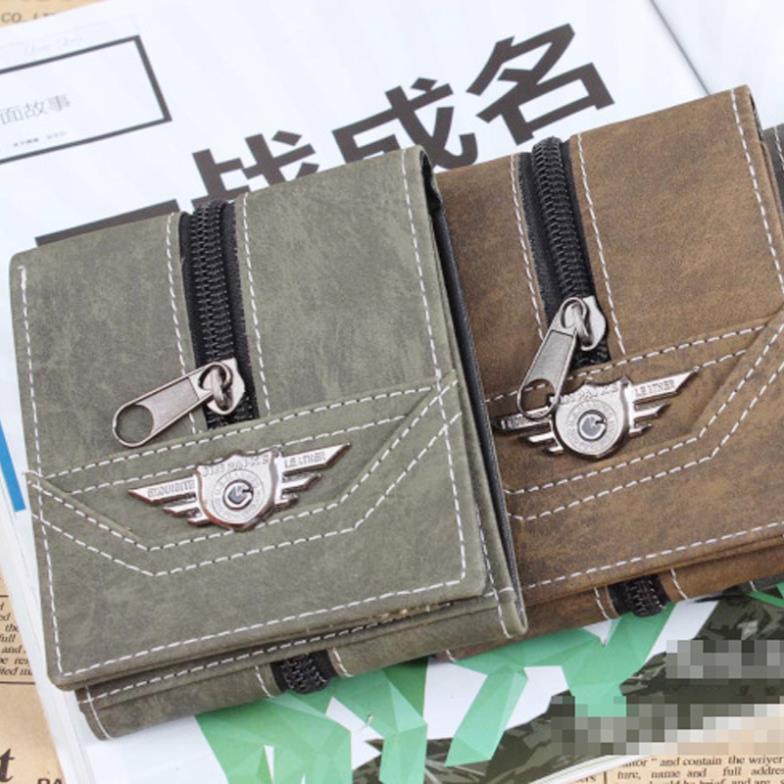 Canvas Wallet Men's Retro Men Multi-Card Wallets Purse Long Punk Leather Army green L09244 - Fashion Shoes & Bags store