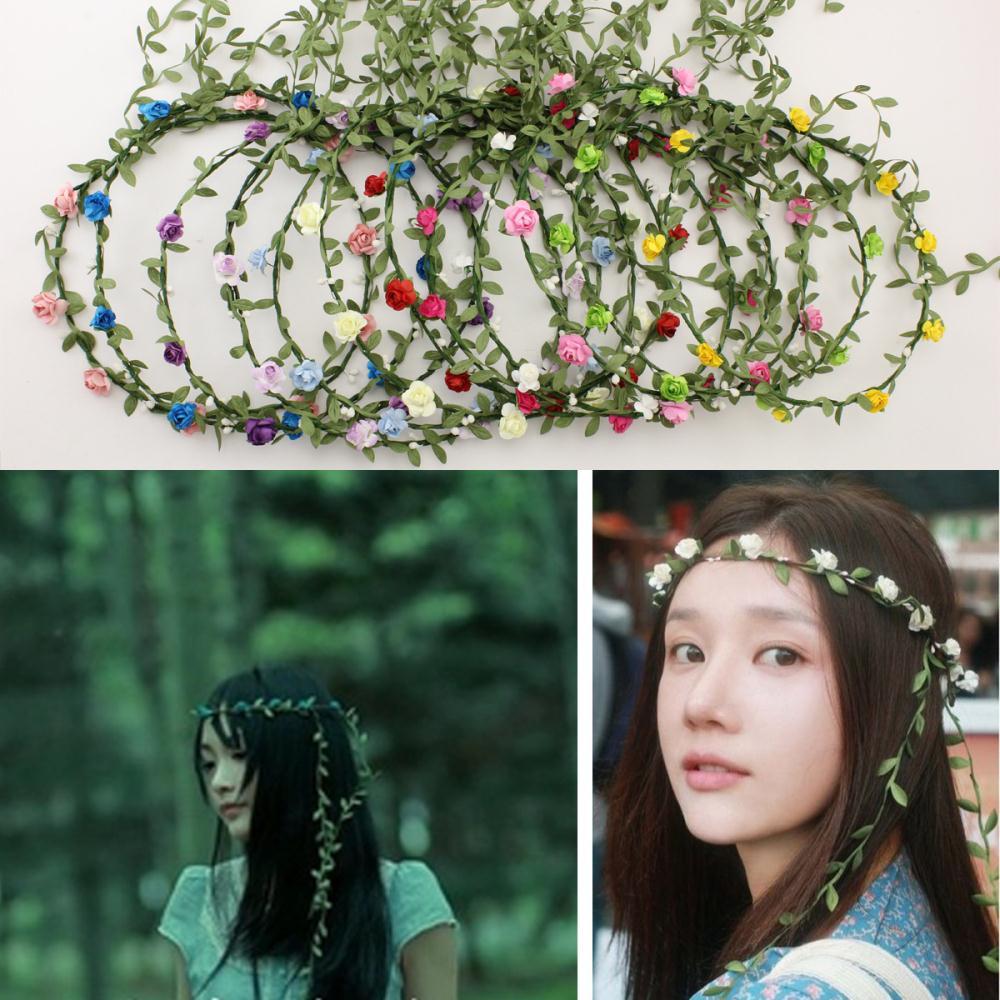 Wholesale boho headband flower crown headbands Bridal wreath 8 flowers Wedding Garland hair accessories for women 100pcs/lot(China (Mainland))