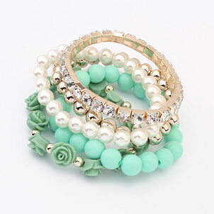 2015 New Fashion Trendy Fashion Candy Color Pearl Rose Flower Multilayer Charm Bracelet & Bangle For Women Fashion Jewelry Y8892(China (Mainland))