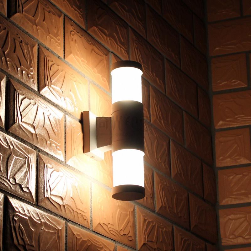 arriba y abajo de la pared llevada impermeable luz exterior de pared de aluminio breve lmpara