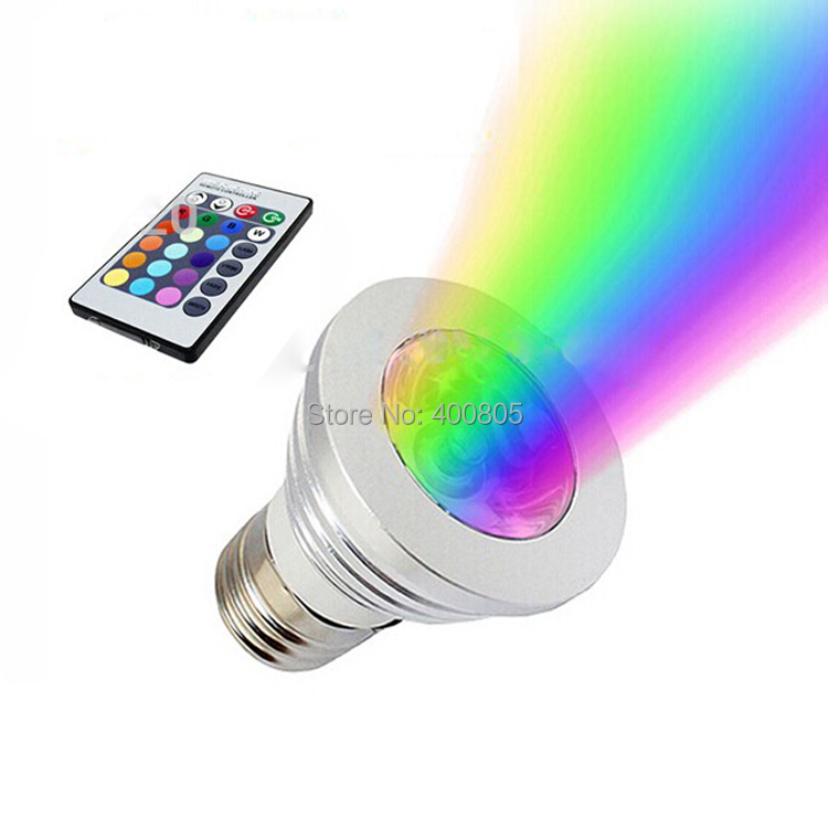 lampada led 3w e27 rgb led spot light bulb lamp remote control 16. Black Bedroom Furniture Sets. Home Design Ideas
