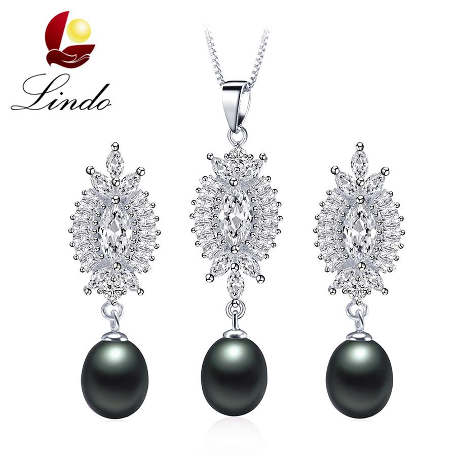 Women Luxury AAA Crystal Zircon Jewelry Fashion High Quality 100% Natural Freshwater Pearl Jewelry Sets Silver 925 Wedding 2 PCS(China (Mainland))