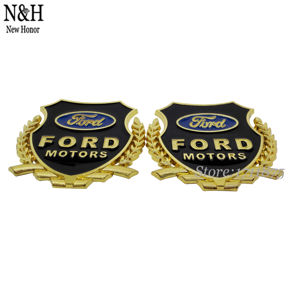 Gold 3D Car Side Alloy Badge Emblem Decal Sticker Fit For Ford Focus Mondeo Kuga Fiesta Mustang Explorer Excape Edge Taurus(China (Mainland))