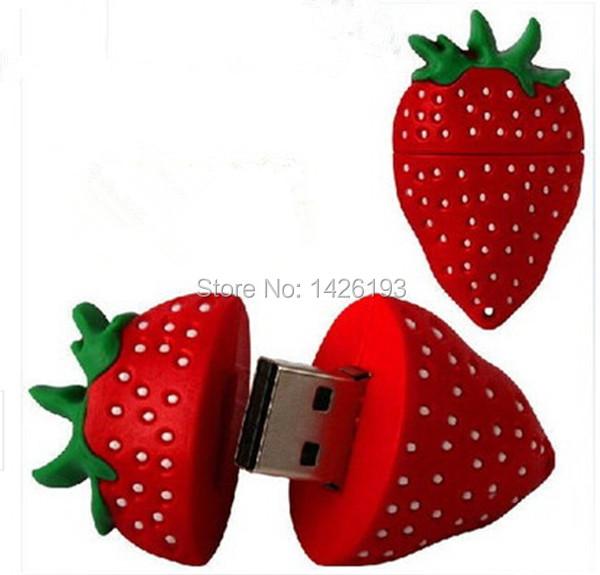 Free Shipping Strawberry Pendrive USB Flash Drive 128MB 2GB 4GB 8GB 16GB 32GB 64GB Pen Drives Flash U Stick USB 2.0 DriveFalsh(China (Mainland))