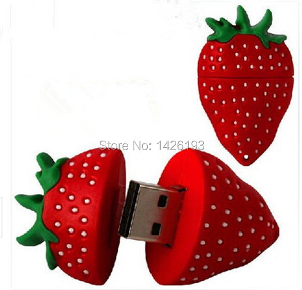 Free Shipping Strawberry Pendrive USB Flash Drive 128MB 2GB 4GB 8GB 16GB 32GB 64GB Pen Drives Flash U Stick USB 2.0 DriveFalsh(China (Mainland))