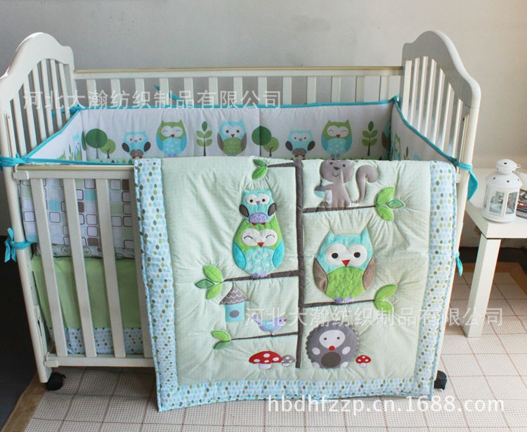 Promotion! 4PCS Woodpecker animal bedding baby cradle crib bedding baby comforter crib set  (bumper+duvet+bed cover+bed skirt)<br><br>Aliexpress