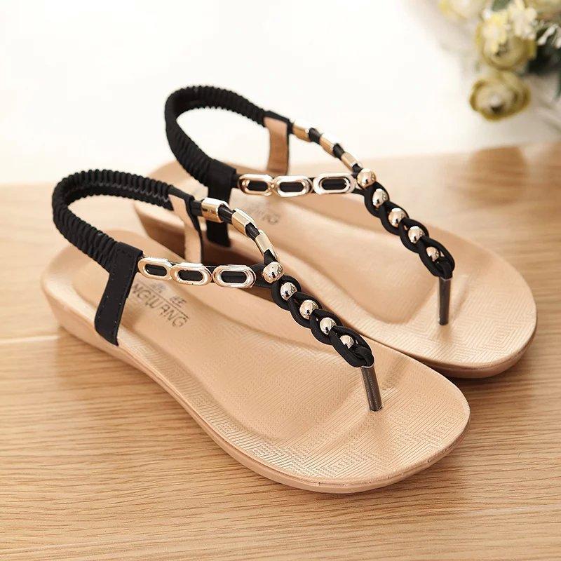Fashion Women Sandals Hot Women Summer Shoes Rhinestone Flip Flops Flat Sandals Women Zapatos Mujer Black Beige Free Shipping<br><br>Aliexpress