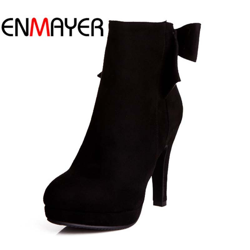 ENMAYER Sweet bow Round Toe Fashion Thin Heels High Boots For Women big size10.5 Flock Ankle Boots Winter wedding platform pumps<br><br>Aliexpress