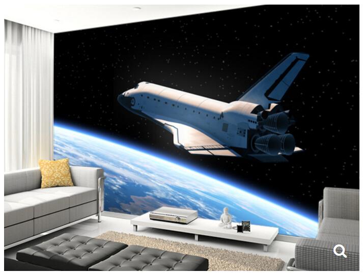 Custom Papel DE Parede Infantil,Space Shuttle Orbiting Earth,3D Cartoon  Mural For Children Room Bedroom Wall Vinyl Wallpaper