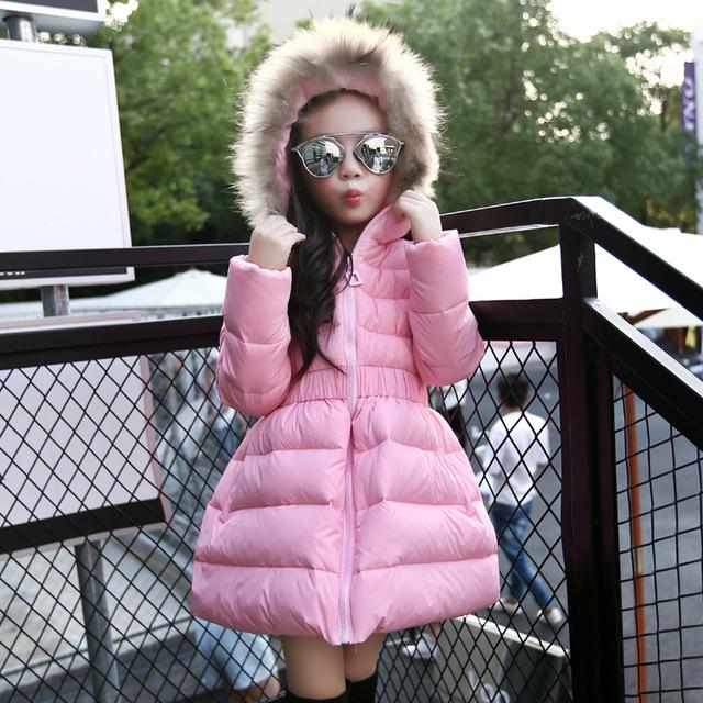 2016 Розничные детская Зимой Вниз Ватные Куртки Хлопка-ватник Девушки Мода Капюшоном Зимние Куртки для Девочек Детей 120-150