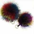 Multi Colored Raccoon Fur Keychain Big Size Genuine Fox Fur Pompom Keychain In Multicolor Pompom Bag
