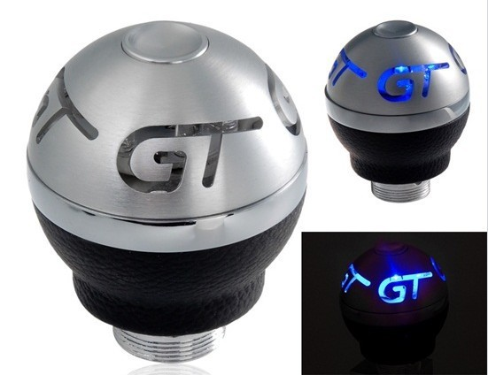 Free shipping GT Printed Blue Light Gear Shift Knob Aluminum alloy, faux leather  lamp panel Easy to install Fit most vehicles(China (Mainland))