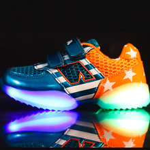 New 2015 Fashion European high quality LED children shoes long use Cool evening lighted children sneakers causal kids shoes(China (Mainland))